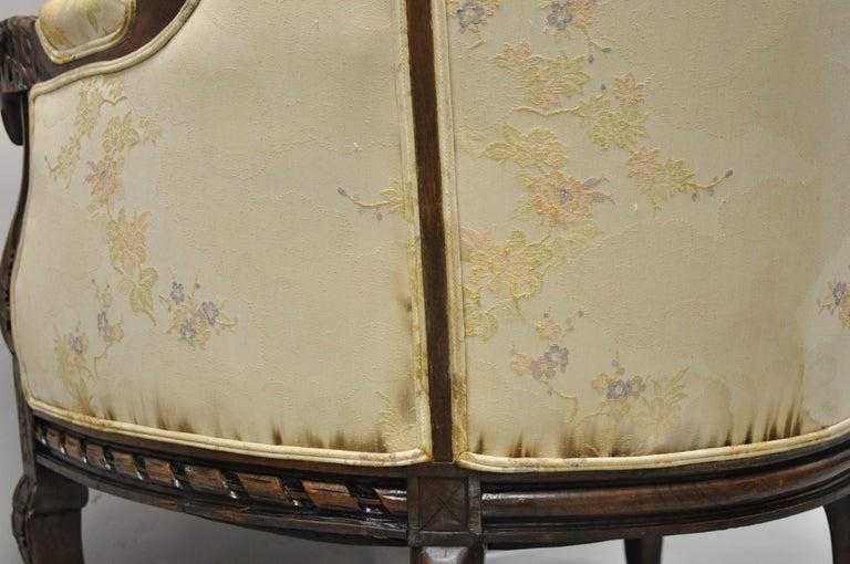 Vintage Italian Regency Style Rams Head Carved Walnut Wingback Bergere Arm Chair For Sale 4