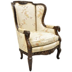 Vintage Italian Regency Style Rams Head Carved Walnut Wingback Bergere Arm Chair