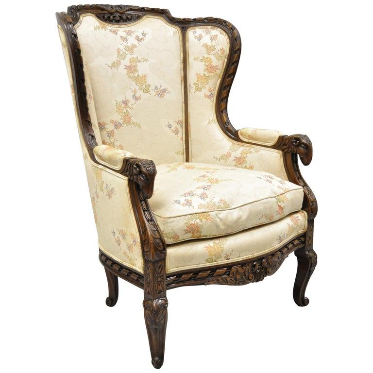 Vintage Italian Regency Style Rams Head Carved Walnut Wingback Bergere Arm Chair For Sale