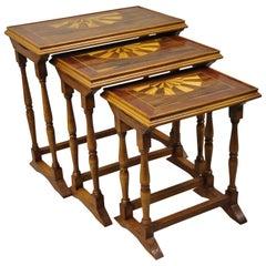 Vintage Italian Regency Sunburst Inlay Nesting Side End Tables, Set of 3