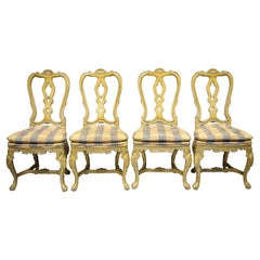 Vintage Italian Rococo Baroque Cream Distress Painted Dining Chairs, Set of 4