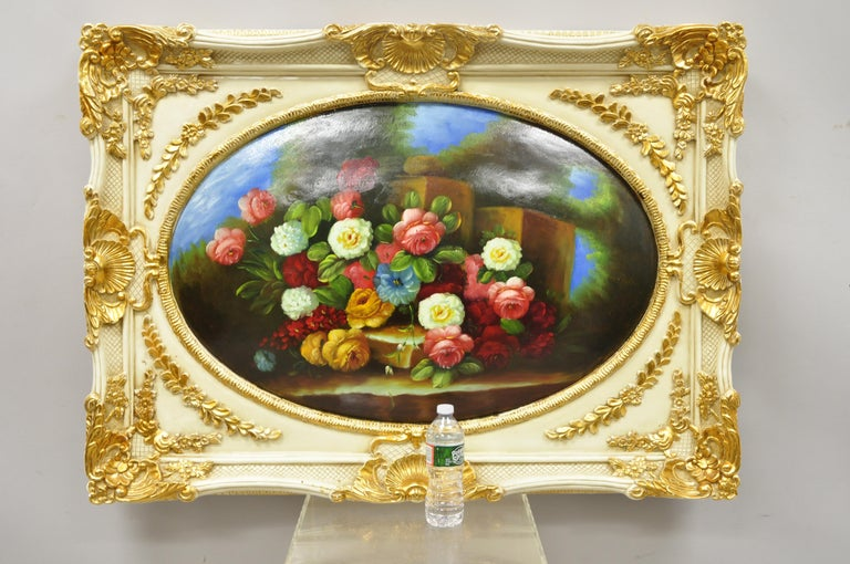 Vintage Italian Rococo Flower Still Life Wall Art Painting by Mirtex Trading For Sale 6