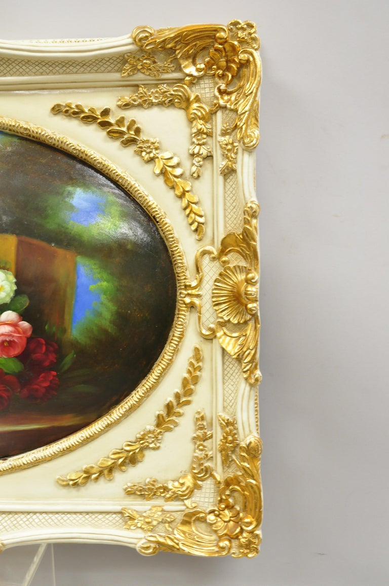 Vintage Italian Rococo Flower Still Life Wall Art Painting by Mirtex Trading For Sale 1