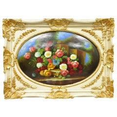 Vintage Italian Rococo Flower Still Life Wall Art Painting by Mirtex Trading