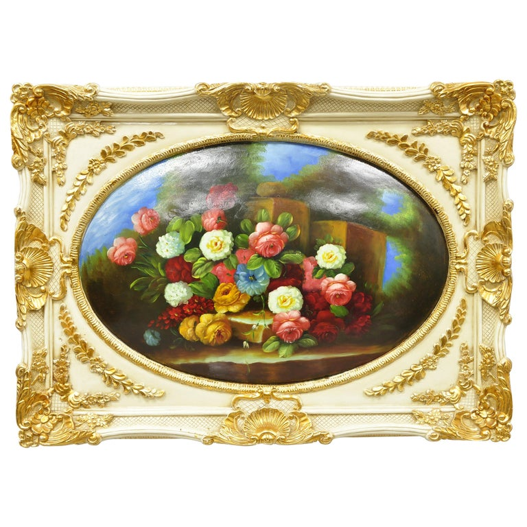 Vintage Italian Rococo Flower Still Life Wall Art Painting by Mirtex Trading For Sale