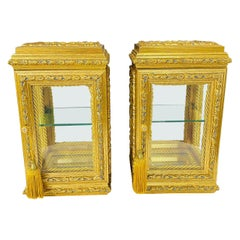 Vintage Italian Rococo Style Diminutive Display Case, a Pair