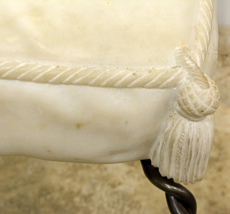 Steel Vintage Italian Rope and Tassel Design Bench with Carved Marble Seat For Sale