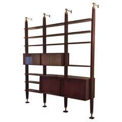 Vintage Italian Rosewood Bookcase Four Uprights and Adjustable Shelves