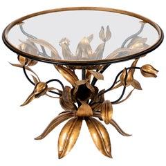 Vintage Italian Round Gilded Gold & Black Metal Tulip Cocktail Table