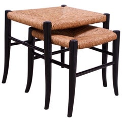 Vintage Italian Rush and Ebonized Wood Nesting Footstools / Ottomans