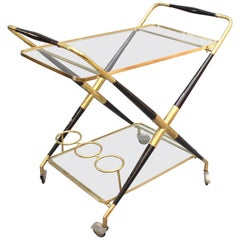 Vintage Italian Serving Trolley / Bar Cart by Cesare Lacca, circa 1950s
