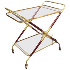 Vintage Italian Serving Trolley / Bar Cart by Cesare Lacca, 'circa 1950s'