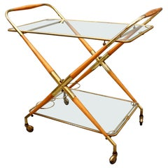 Vintage Italian Serving Trolley or Bar Cart by Cesare Lacca, circa 1950s