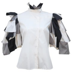 Vintage Italian Silk Black, White & Gray 'Confetti' Blouse