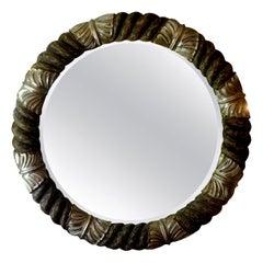 Vintage Italian Silver Gilt Round Beveled Mirror After Romeo Rega