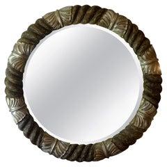 Vintage Italian Silver Gilt Round Beveled Mirror