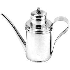 Vintage Italian Silver Olive Oil Jug Decanter Pourer Dispenser Oil Can c. 1960