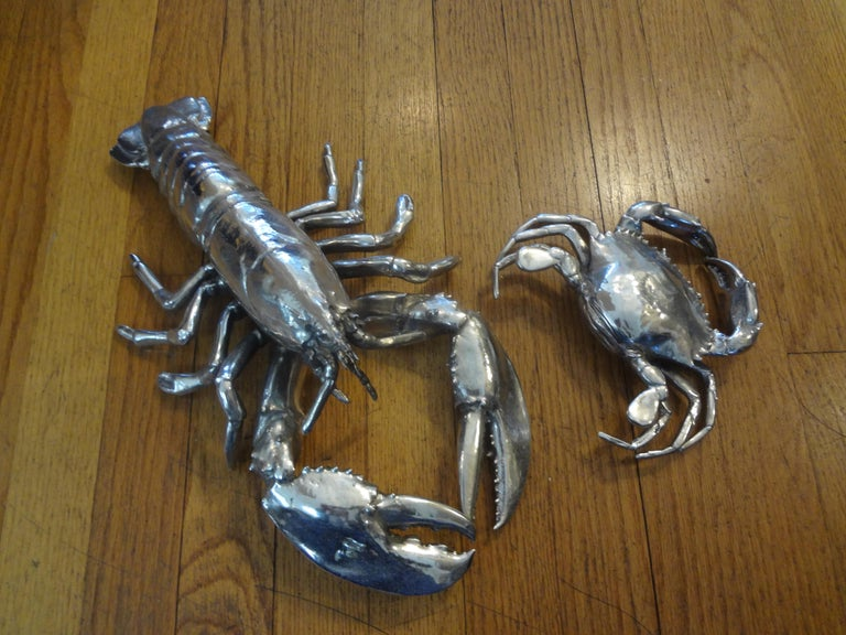 Vintage Italian Silver Plated Lobster and Crab For Sale 6