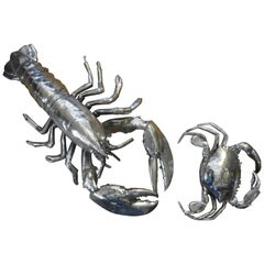 Vintage Italian Silver Plated Lobster and Crab