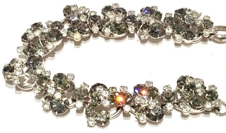 20th Century Italian Silver & Swarovski Crystal Chain Link Choker Necklace For Sale 3