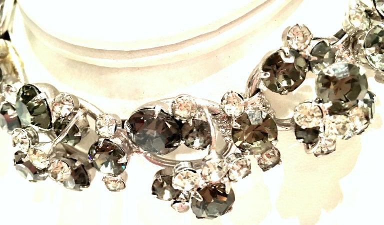 20th Century Italian Silver & Swarovski Crystal Chain Link Choker Necklace For Sale 4