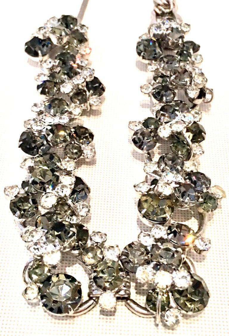 20th Century Italian Silver & Swarovski Crystal Chain Link Choker Necklace For Sale 2