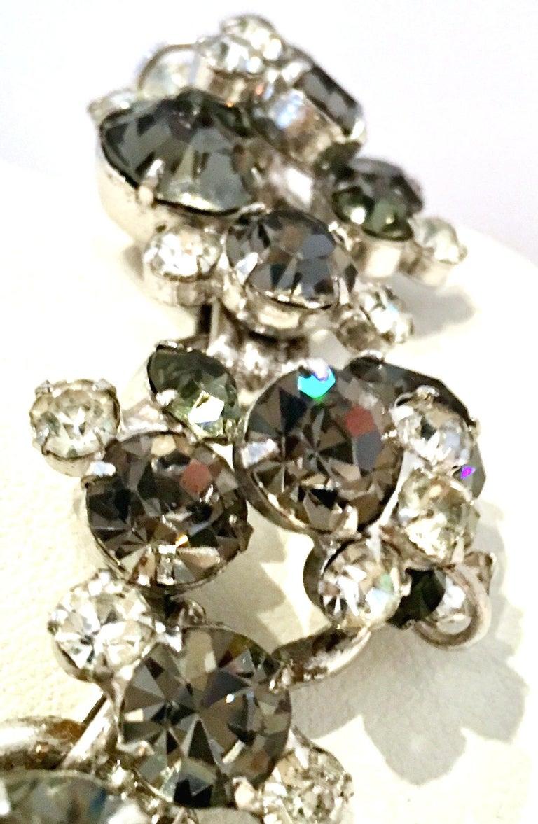 20th Century Italian Silver & Swarovski Crystal Chain Link Choker Necklace For Sale 7