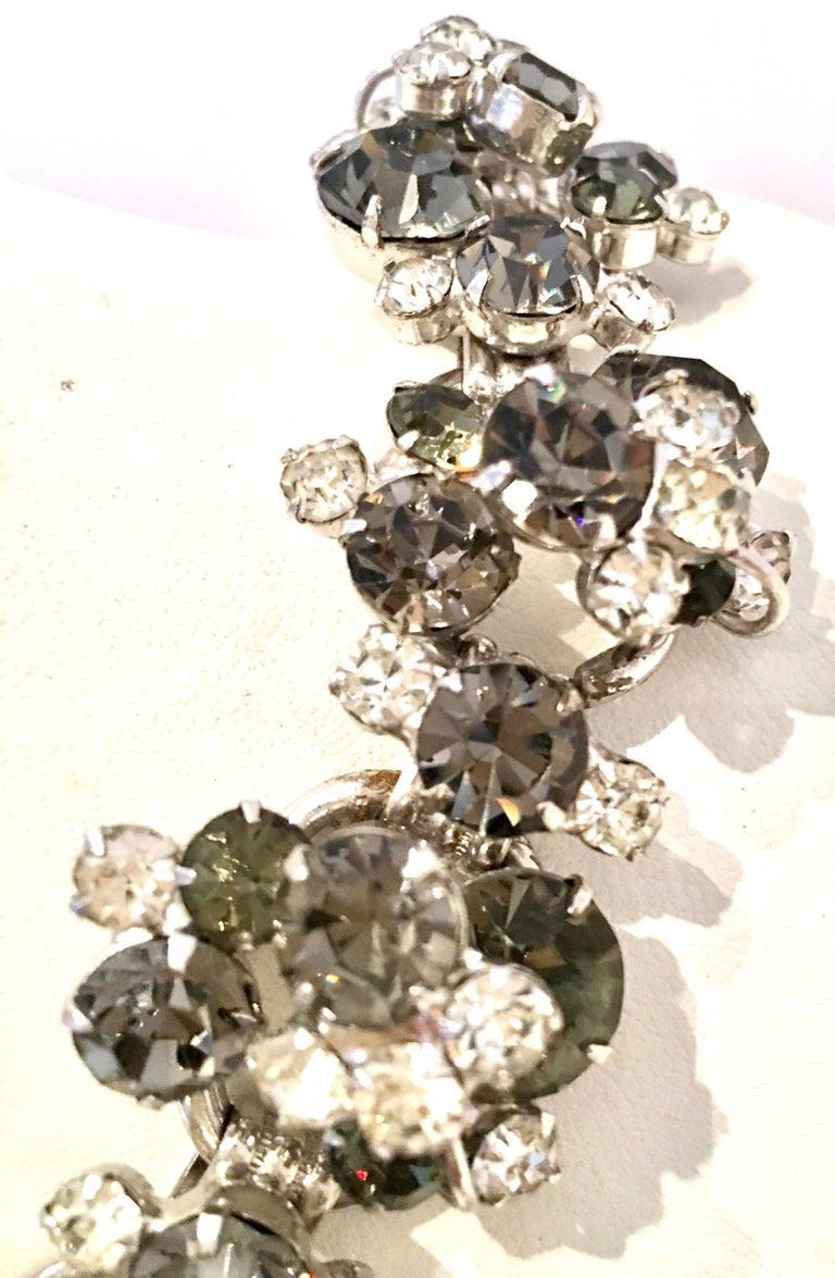 20th Century Italian Silver & Swarovski Crystal Chain Link Choker Necklace For Sale 5