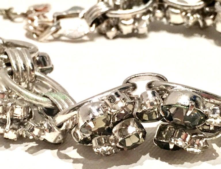 20th Century Italian Silver & Swarovski Crystal Chain Link Choker Necklace For Sale 8