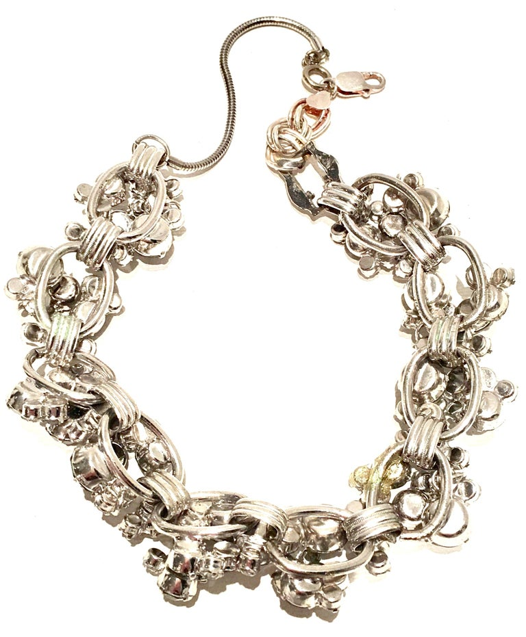 20th Century Italian Silver & Swarovski Crystal Chain Link Choker Necklace For Sale 10