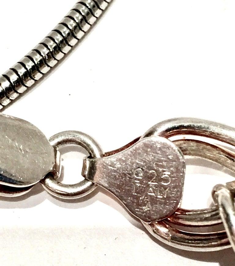 20th Century Italian Silver & Swarovski Crystal Chain Link Choker Necklace For Sale 11