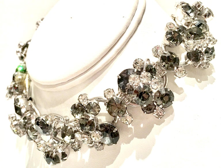 20th Century Italian Silver & Swarovski Crystal Chain Link Choker Necklace In Good Condition For Sale In West Palm Beach, FL
