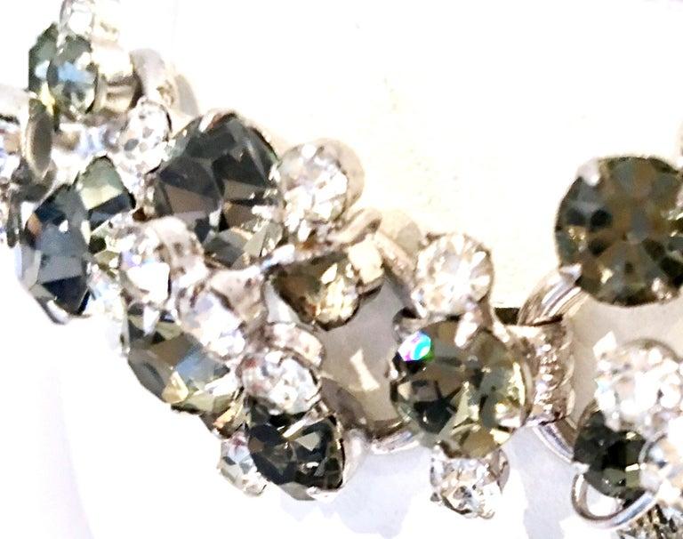 20th Century Italian Silver & Swarovski Crystal Chain Link Choker Necklace For Sale 6