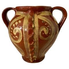 Vintage Italian Slipware Terra Cotta Vase