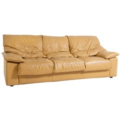 Vintage Italian Sofa Camel-Colored Leather Three-Seat, 1970s