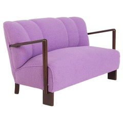 Vintage Italian Sofa in Purple Bouclè Fabric, Restored