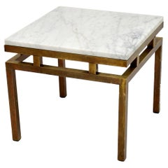 Vintage Italian Solid Brass & Marble Coffee / Side Table