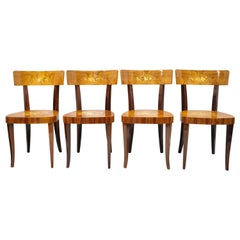 Vintage Italian Sorrento Inlaid Wood Game Table Dining Chairs, Set of 4