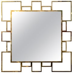 Vintage Italian Squared Brass Mirror, 1980s