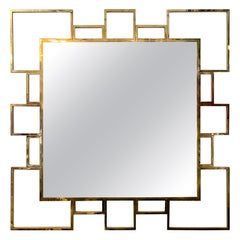 Vintage Italian Squared Brass Mirror, 1980s