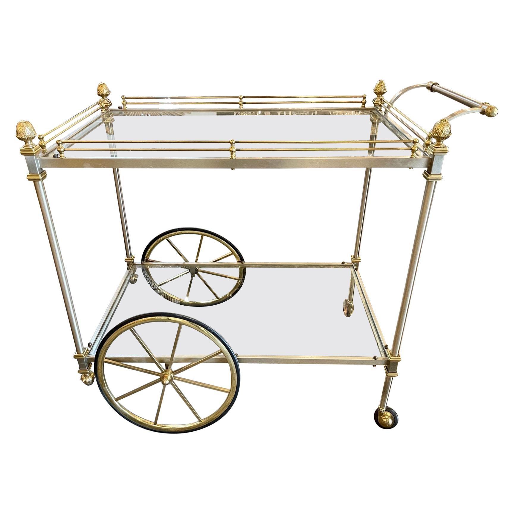 Vintage Italian Steel and Brass Bar Cart