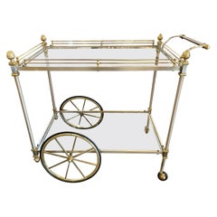 Vintage Italian Steel and Brass Bar Cart