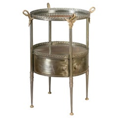 Vintage Italian Steel and Bronze Circular Side Table with Swan Necks and Doors