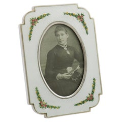 Italian Sterling Silver and Enamel Photograph Frame