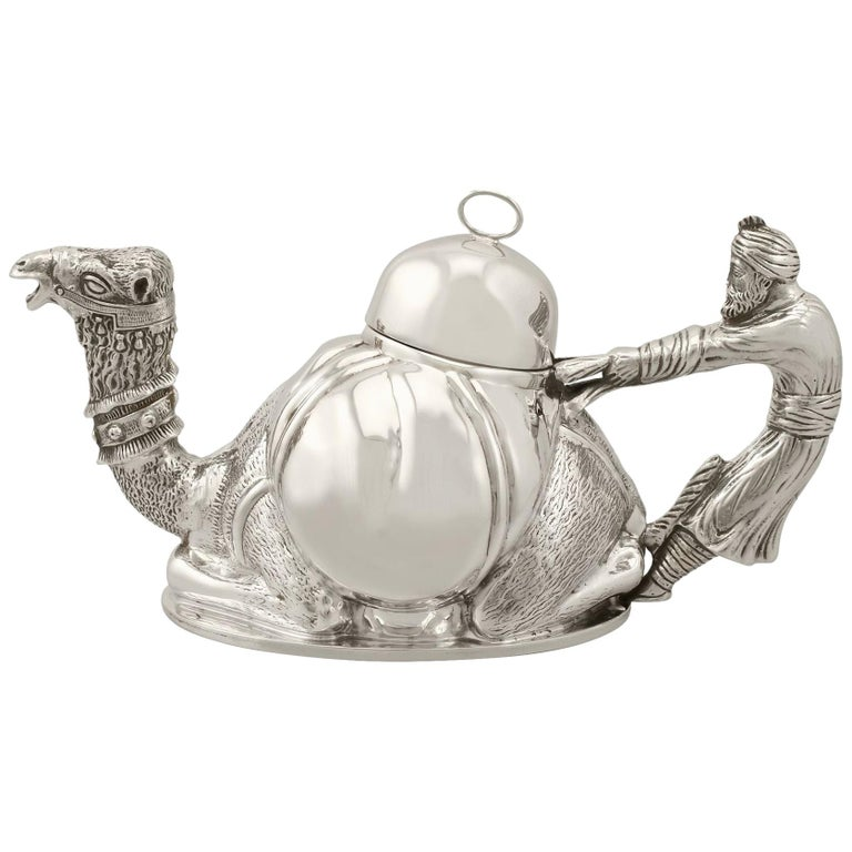 Vintage Italian Sterling Silver Teapot For Sale