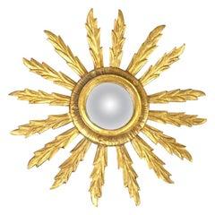 Vintage Italian Sunburst Giltwood Mirror