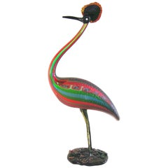 Vintage Italian Tall Red Blue Green Glass Crested Bird Sculpture