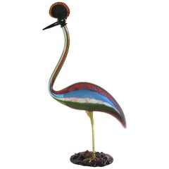 Vintage Italian Tall Red Blue Green White Glass Crested Bird Sculpture