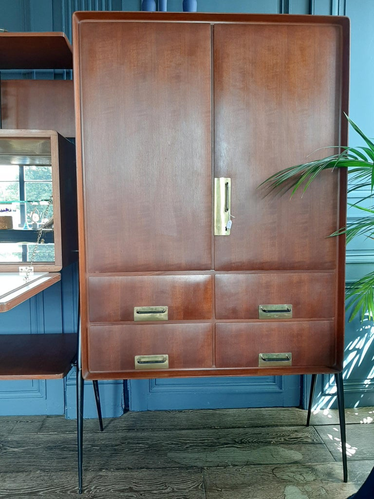 Vintage Italian Teak Wall Unit Sideboard Bookcase with Bar by Silvio Cavatorta For Sale 3