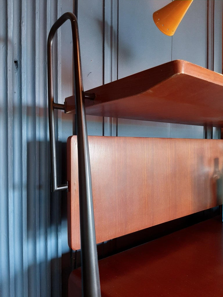 Vintage Italian Teak Wall Unit Sideboard Bookcase with Bar by Silvio Cavatorta For Sale 4